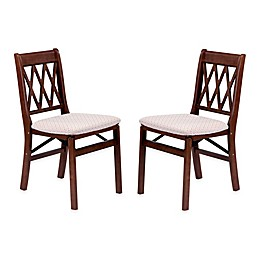 Stakmore Lattice Back Wood Folding Chairs (Set of 2)