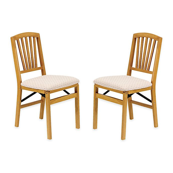 Alternate image 1 for Stakmore Slat Back Wood Folding Chairs in Oak (Set of 2)