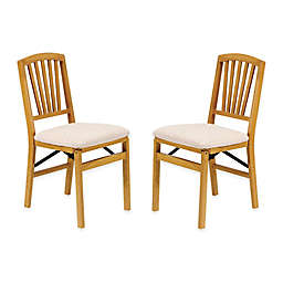 Stakmore Slat Back Wood Folding Chairs (Set of 2)