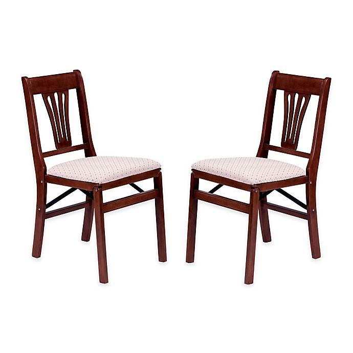 Alternate image 1 for Stakmore Urn Back Wood Folding Chairs in Cherry (Set of 2)
