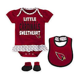 NFL Arizona Cardinals Little Sweet 3-Piece Creeper, Bib, and Bootie Set