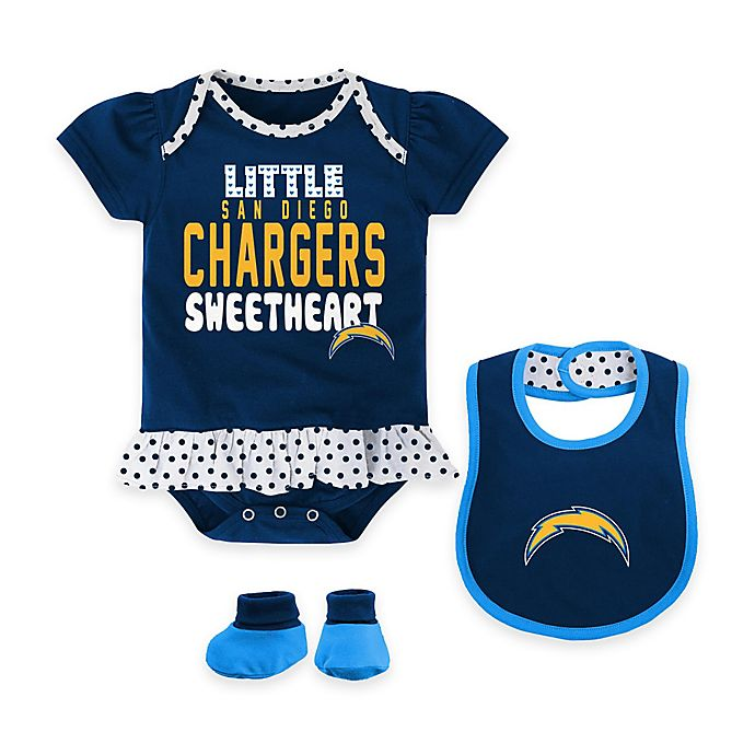 a603fcc7 NFL Los Angeles Chargers Little Sweet 3-Piece Creeper, Bib, and ...