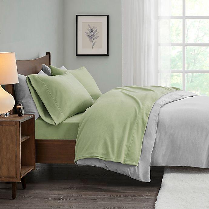 Alternate image 1 for True North by Sleep Philosophy Micro Fleece Queen Sheet Set in Green