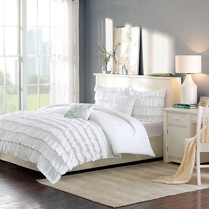 Alternate image 1 for Intelligent Design Waterfall Reversible 4-Piece Twin/Twin XL Comforter Set in White