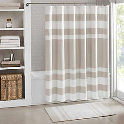 Madison Park 72-Inch x 72-Inch Spa Waffle Shower Curtain in Taupe