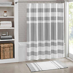 Madison Park 72-Inch x 72-Inch Spa Waffle Shower Curtain in Grey