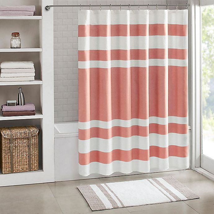 Alternate image 1 for Madison Park 72-Inch x 72-Inch Spa Waffle Shower Curtain in Coral
