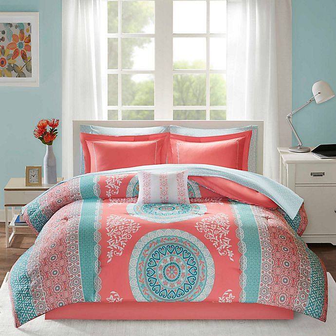 Alternate image 1 for Intelligent Design Loretta 7-Piece Twin Comforter Set in Coral