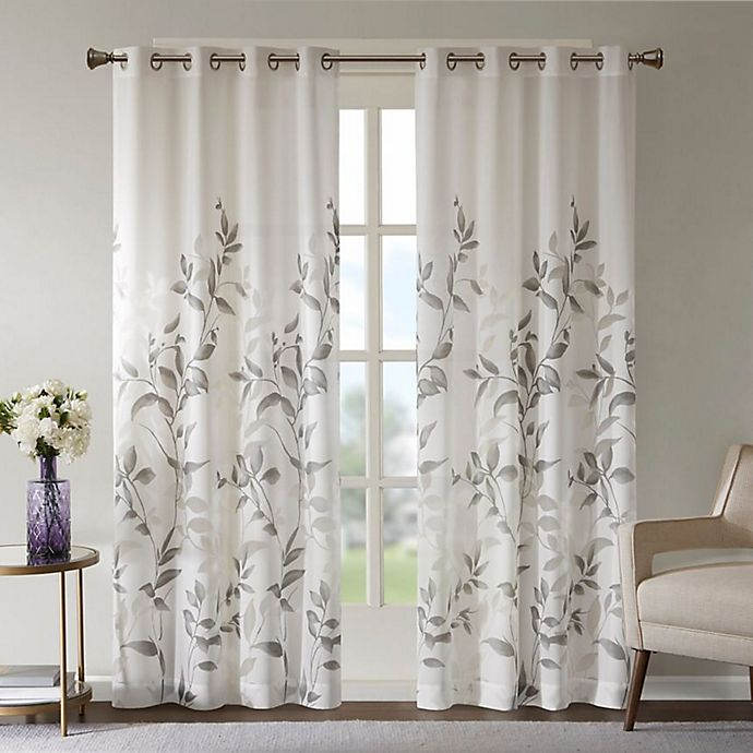 Alternate image 1 for Madison Park Cecily Botanical Burnout Grommet Top Window Curtain Panel