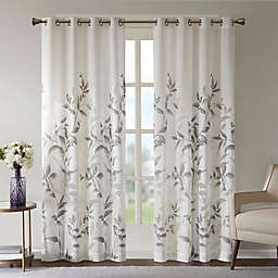 Madison Park Cecily Botanical Burnout Light Filtering Grommet Top Window Curtain Panel