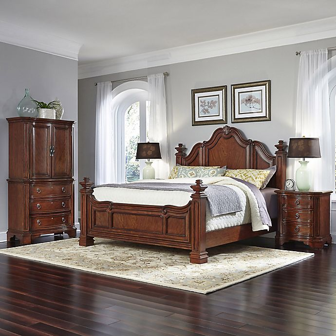 Home Styles Santiago Wood 4-Piece Bed, Nightstands, And