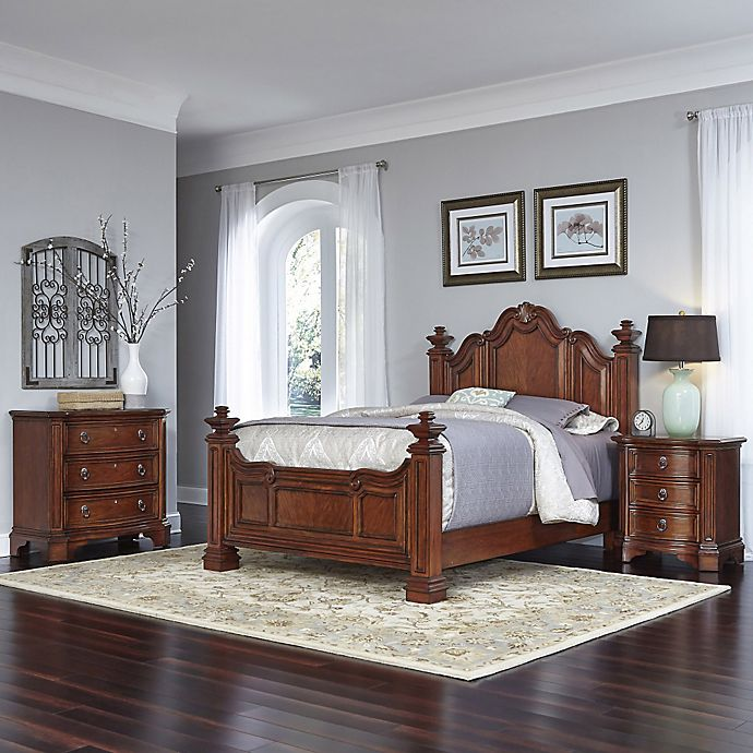 Alternate image 1 for Home Styles Santiago 3-Piece Queen Bed, Nightstand, and Drawer Chest Set in Cognac