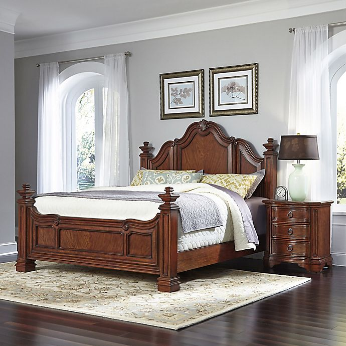 Alternate image 1 for Home Styles Santiago 2-Piece King Bed and Nightstand Set in Cognac
