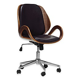 Baxton Studio Watson Modern Office Chair in Black/Walnut