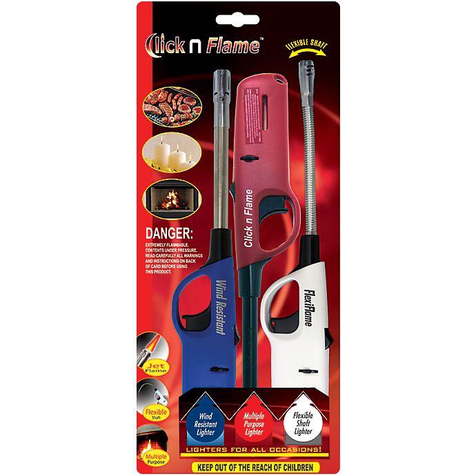 Alternate image 1 for Click N Flame Multi Purpose Lighter 3-Pack Value Pack