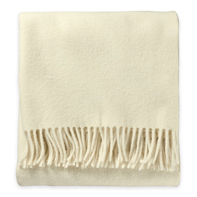 Alternate image 1 for Pendleton® Eco-Wise Wool Fringed Throw Blanket in White