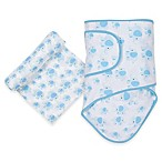 MiracleWare Elephant Miracle Blanket and Muslin Swaddle Set in Blue/White