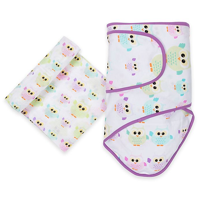 Alternate image 1 for MiracleWare Owls Miracle Blanket and Muslin Swaddle Set in Purple/Yellow