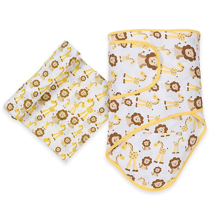 Alternate image 1 for MiracleWare Giraffe and Lion Miracle Blanket and Muslin Swaddle Set in Brown/Yellow