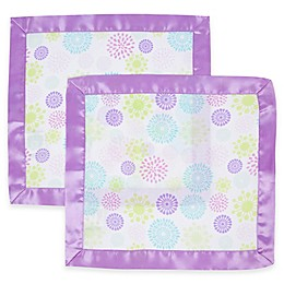 MiracleWare 2-Pack Colorful Bursts Muslin Security Blanket with Satin Edge in Purple/White