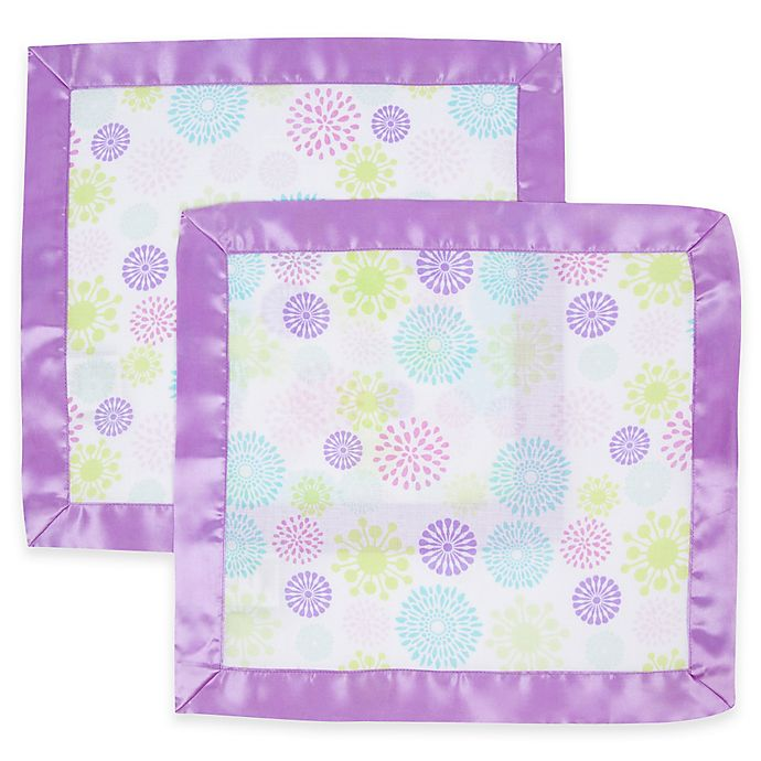 Alternate image 1 for MiracleWare 2-Pack Colorful Bursts Muslin Security Blanket with Satin Edge in Purple/White