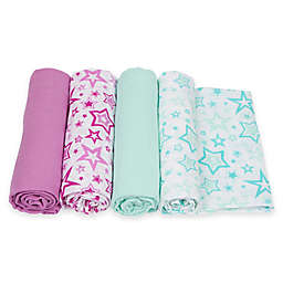 MiracleWare 4-Pack Stars Muslin Swaddles in Orchid/Aqua