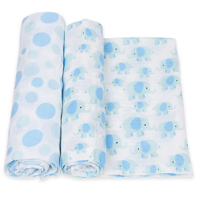 Alternate image 1 for MiracleWare 2-Pack Dot/Elephant Muslin Swaddles in White/Blue