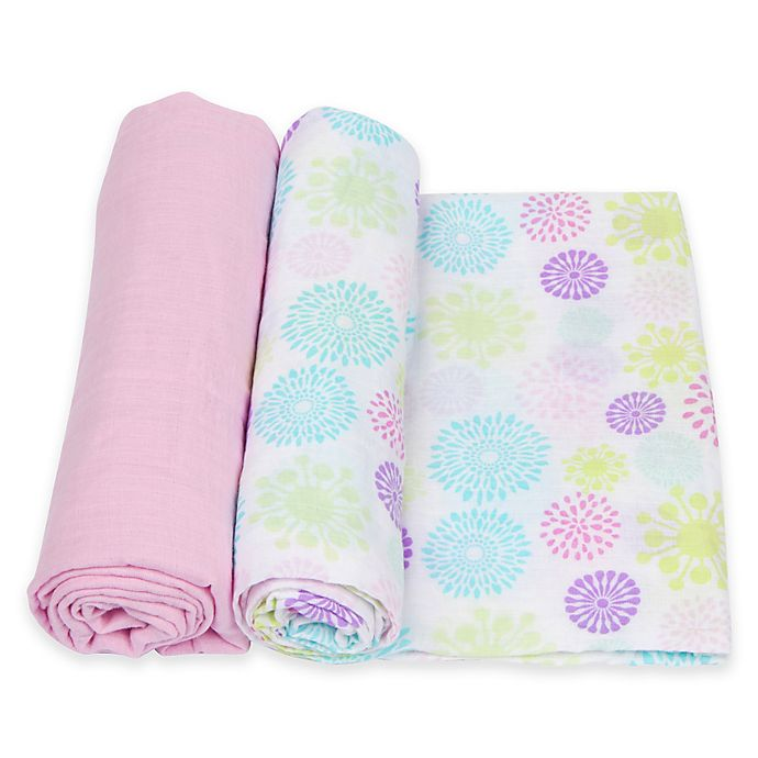 Alternate image 1 for MiracleWare 2-Pack Colorful Bursts Solid Muslin Swaddles in Purple/Pink