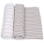 MiracleWare 2-Pack Stripe/Chevron Muslin Swaddles in Pink/Grey