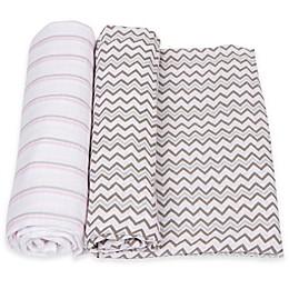 MiracleWare 2-Pack Stripe/Chevron Muslin Swaddles in Pink/Grey