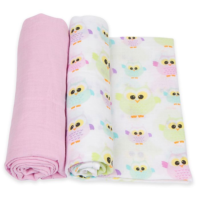 Alternate image 1 for MiracleWare 2-Pack Owls Muslin Swaddles in Pink