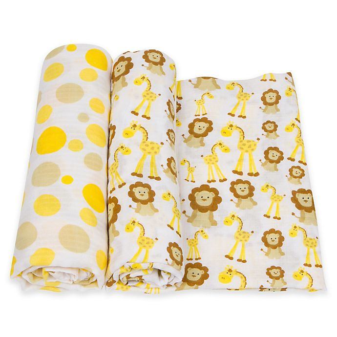 Alternate image 1 for MiracleWare 2-Pack Dots/Giraffe & Lion Muslin Swaddles in Yellow/Brown