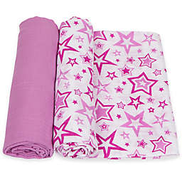 MiracleWare 2-Pack Stars Muslin Swaddles in Orchid