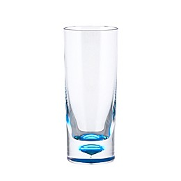 Bubble Bottom Highball Glass in Clear/Blue