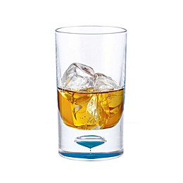 Bubble Bottom Double Old Fashioned Glass in Clear/Blue