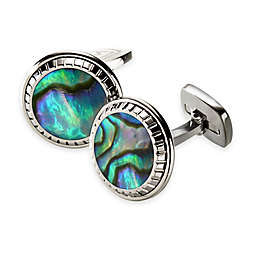 M-Clip® Stainless Steel and Abalone Carved Round Cufflinks