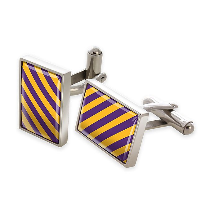 Alternate image 1 for M-Clip® Stainless Steel Purple and Gold Diagonal Stripe Rectangular Cufflinks