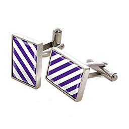 Stainless Steel Purple and White Vertical Striped Inlay Cufflinks