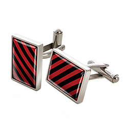 Stainless Steel Crimson and Black Inlay Striped Cufflinks