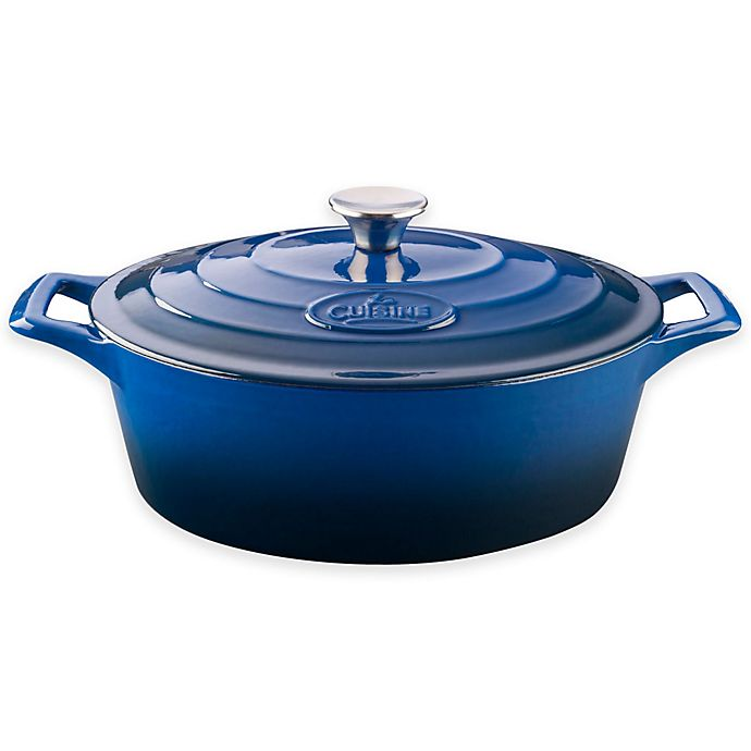 Alternate image 1 for La Cuisine PRO 6.75 qt. Oval Cast Iron Casserole in Blue