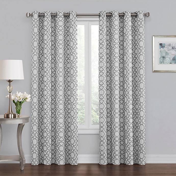 Alternate image 1 for Quinn Geo 84-Inch Grommet 100% Blackout Window Curtain Panel in Grey