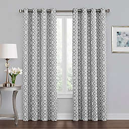 Quinn Geo 84-Inch Grommet 100% Blackout Window Curtain Panel in Grey