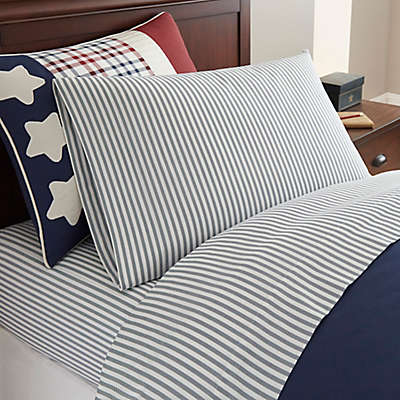 Frank and Lulu Star Spangled Twill Sheet Set in Navy