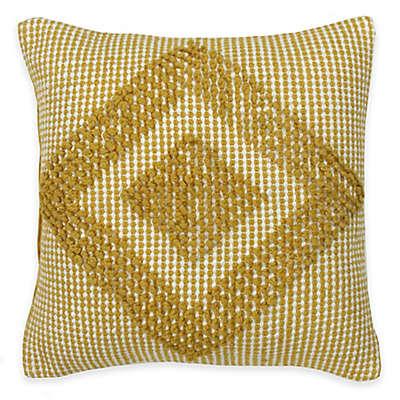 KAS ROOM South Hampton Jelani Square Throw Pillow in Yellow/White