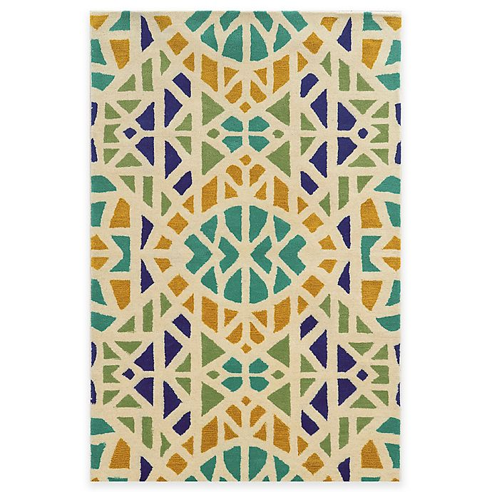 Alternate image 1 for Rizzy Home Bradberry Downs Mosaic Tile 5-Foot x 8-Foot Area Rug in Ivory/Blue