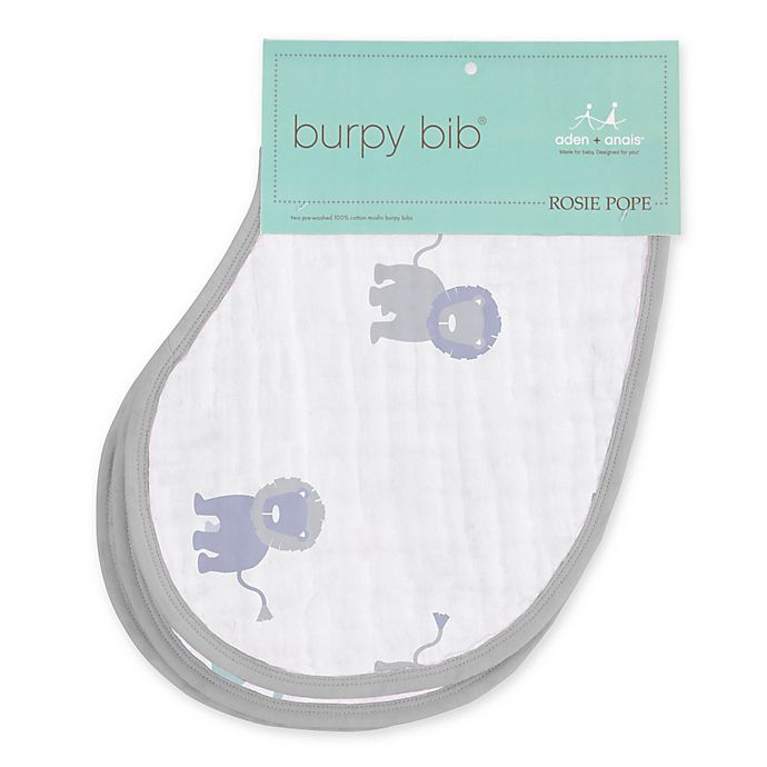 Alternate image 1 for aden + anais® Rosie Pope 2-Pack Lion Burpy Bib® in Grey