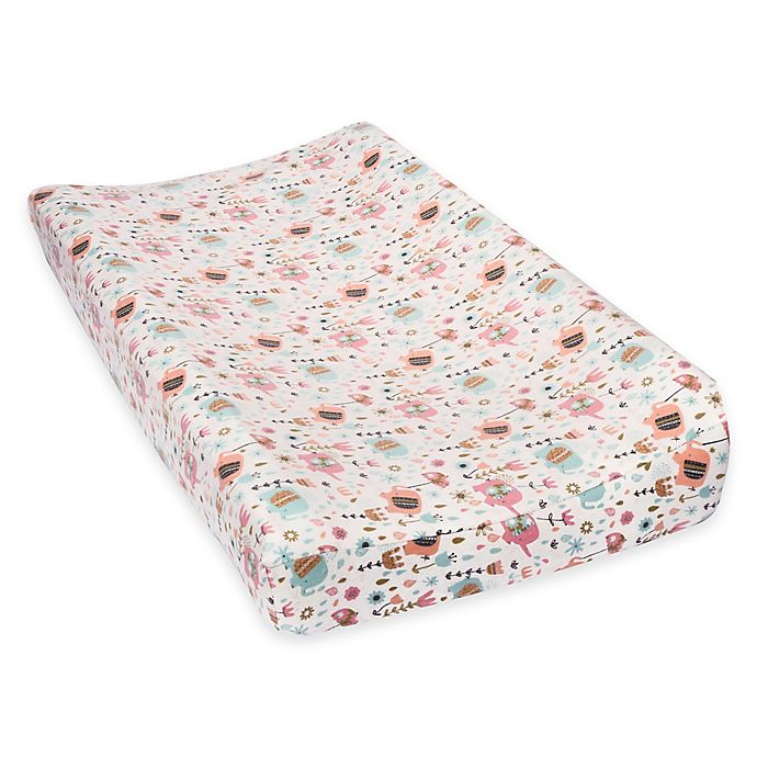 Alternate image 1 for Trend Lab® Playful Elephants Deluxe Flannel Changing Pad Cover
