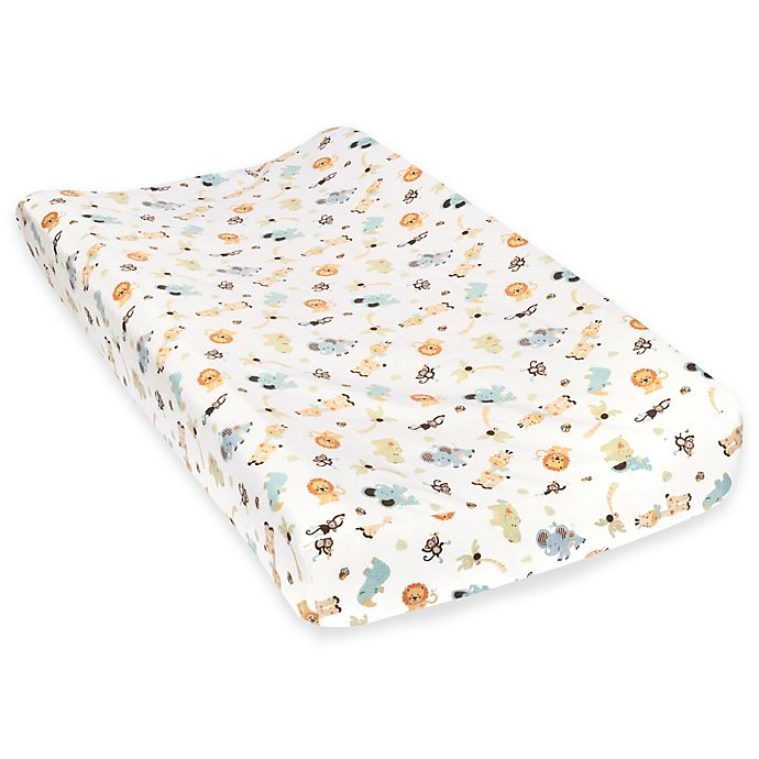 Alternate image 1 for Trend Lab® Jungle Friends Deluxe Flannel Changing Pad Cover