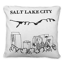 Passport Postcard Salt Lake City Square Throw Pillow in Black/White