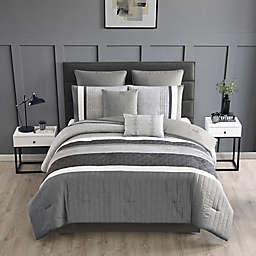 Mendocino 8-Piece Full Comforter Set in Grey/Black